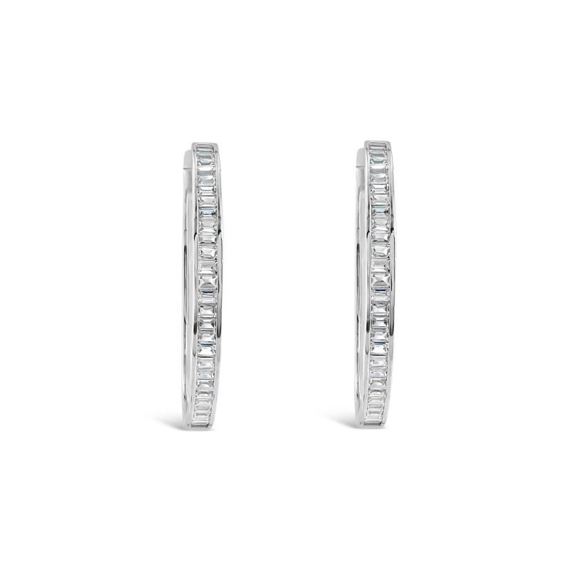 Boucles d'oreille Argent 925 créole moyen modèle oxydes de zirconium