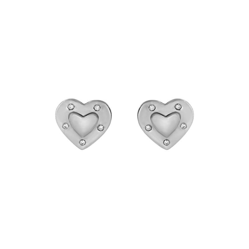 Boucles d'oreille Argent 925 coeur oxydes de zirconium
