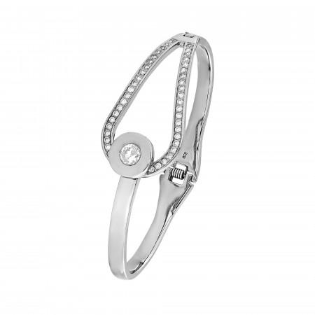 Bracelet rigide Argent 925 boucle oxydes de zirconium