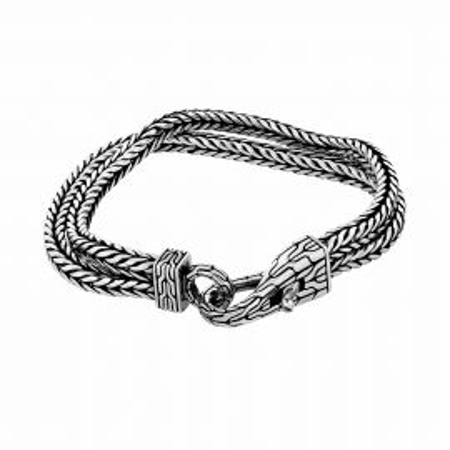 Snake mesh bracelet with engraved fastener clasp