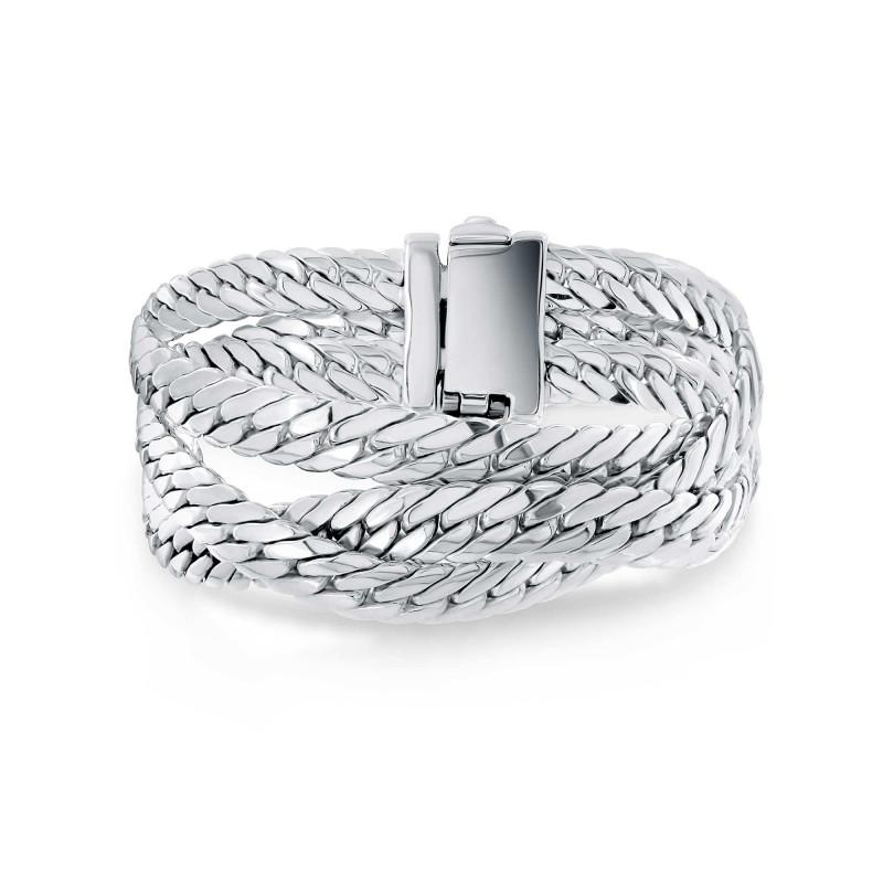 Bracelet maille serpent 3 rangs