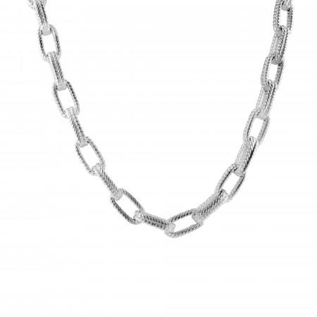 Guilloche mesh necklace