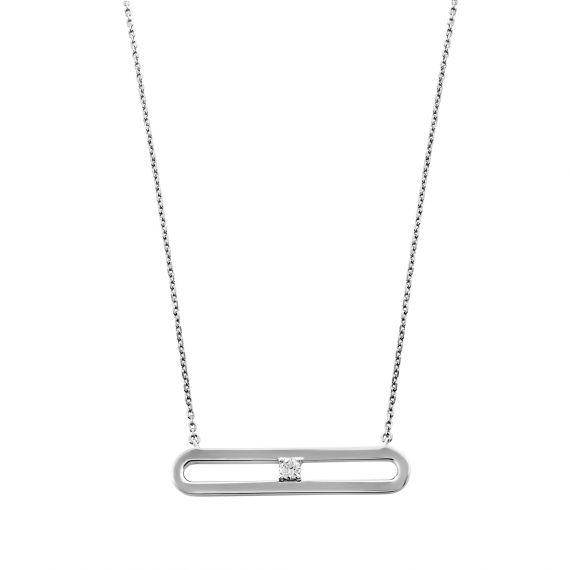 Collier maille rectangle oxyde de zirconium