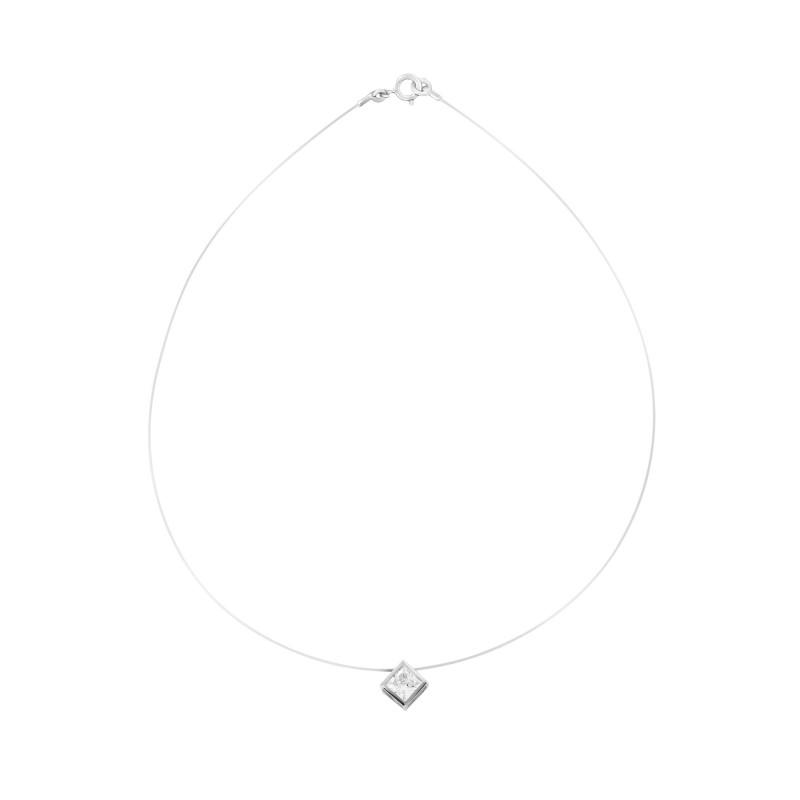 Collier transparent ajustable motif carré