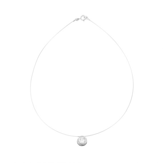 Collier transparent ajustable motif rond