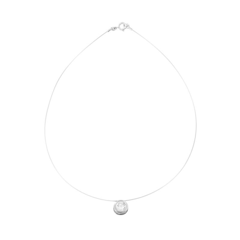 Collier transparent ajustable motif rond