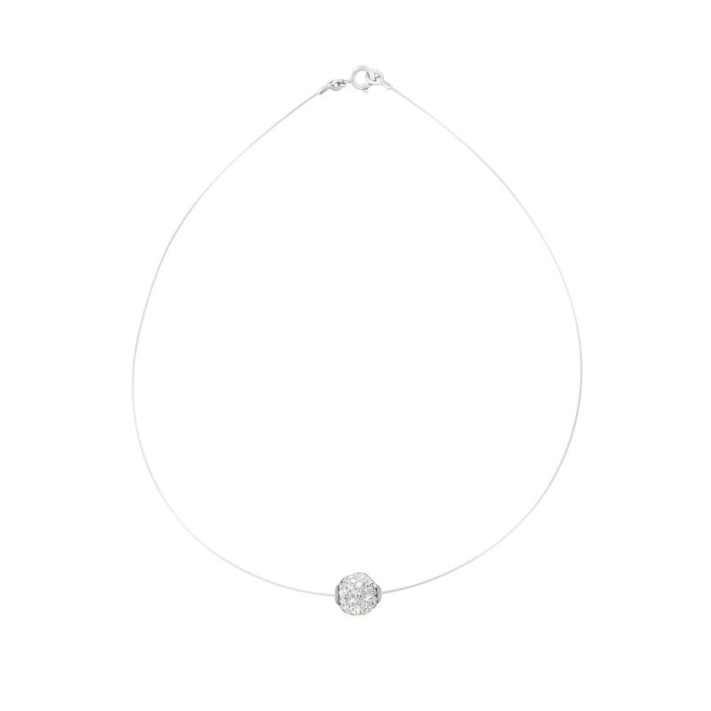 Collier transparent ajustable boule cristaux blanc