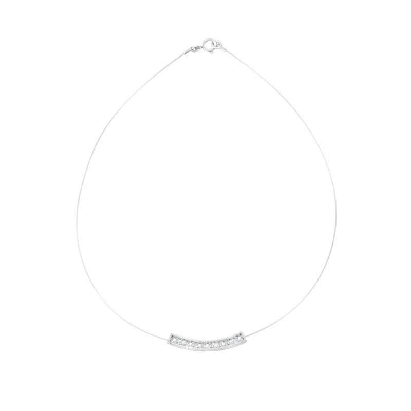 Collier transparent ajustable barre