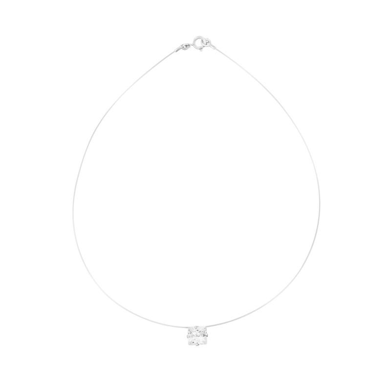 Collier transparent ajustable carré serti 4 griffes