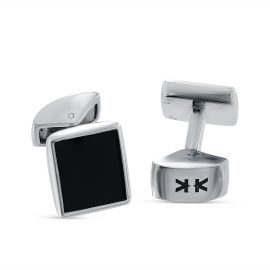 Sterling silver rectangle black onyx cufflinks