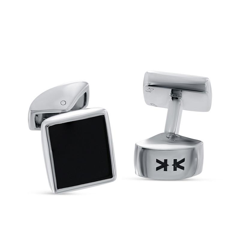 Sterling silver rectangle black onyx cufflinks
