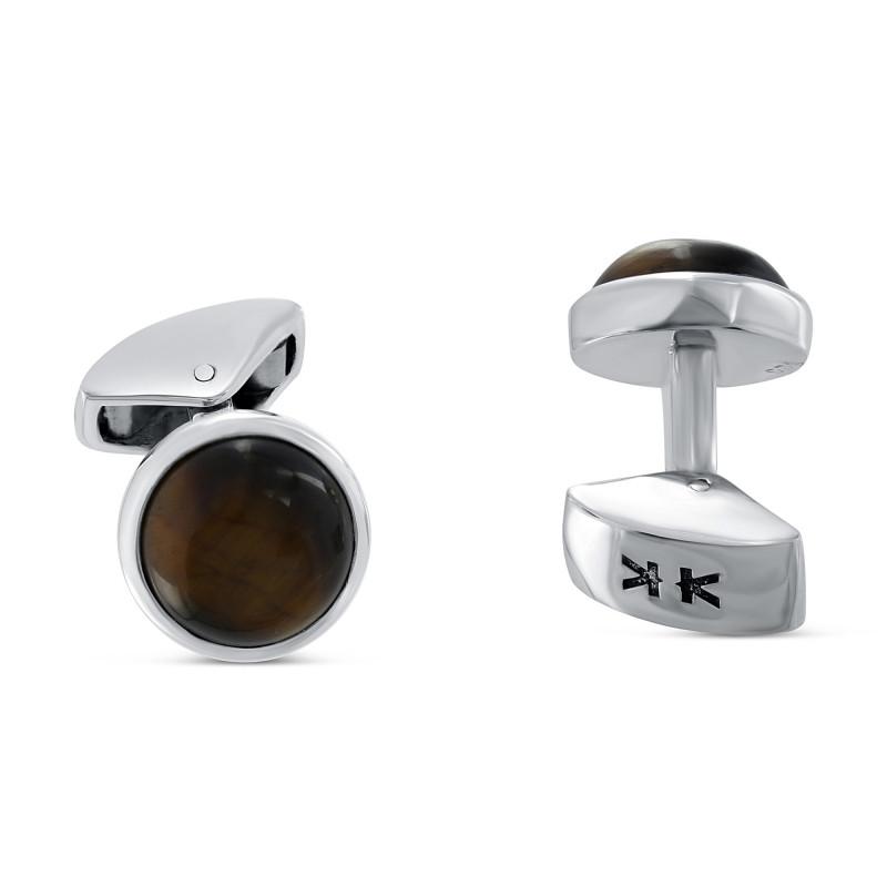 Sterling silver round tiger eye cufflinks