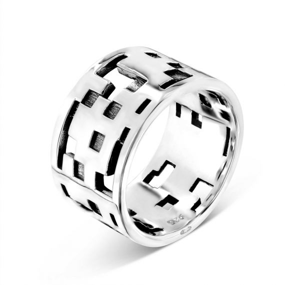 Sterling silver pixel ring