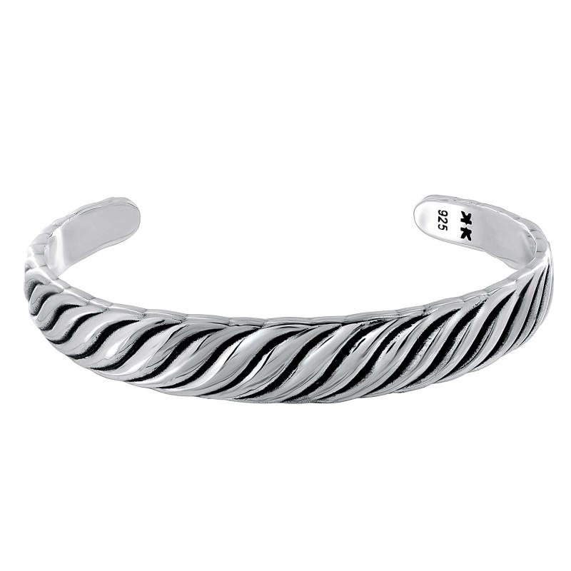 """Bracelet rigide Homme Argent 925 """"Vagues"""""""