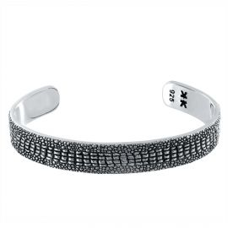 "Sterling silver ""Crocodile"" bangle bracelet"