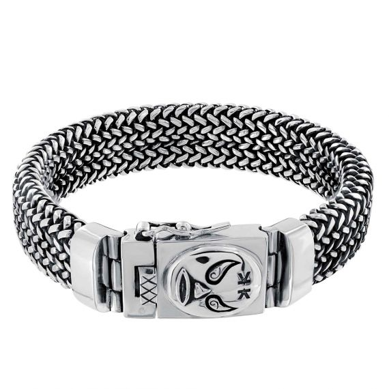 "Sterling silver oxidized balinese bracelet ""Macho libre"""