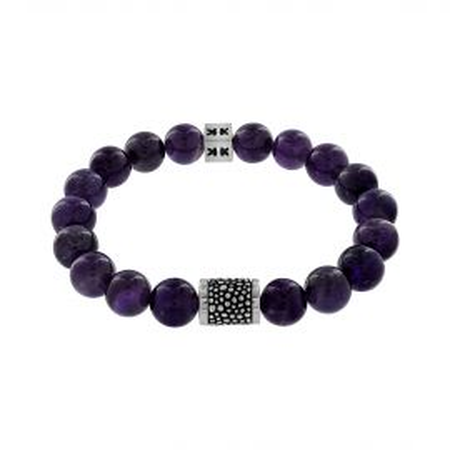 """Beads boys"" amethyste stone Silver stingray bracelet"
