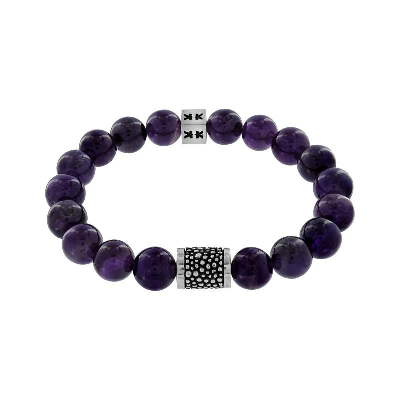 """Bracelet """"Beads boys"""" améthyste Silver stingray"""