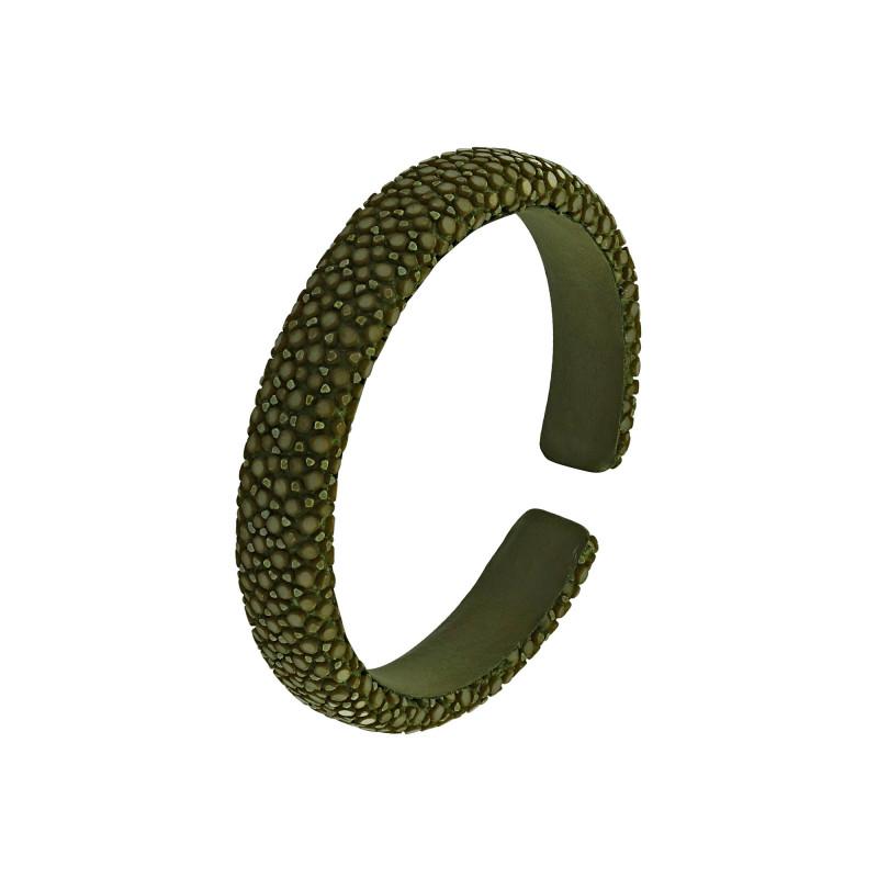 Bracelet galuchat vert kaki 10