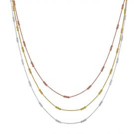Vermeil 3 color multi-row necklace