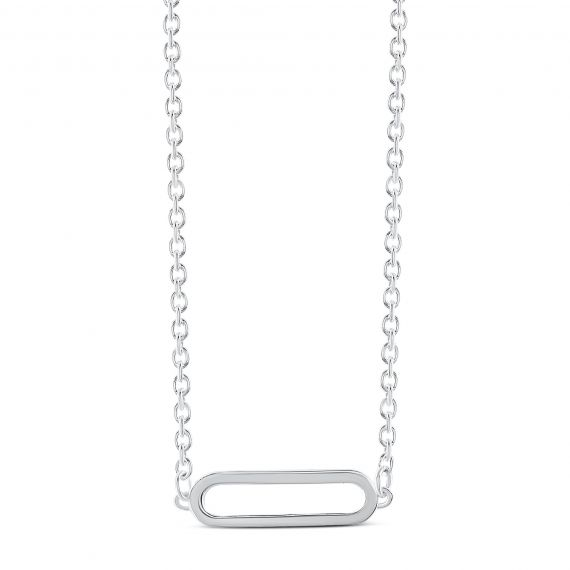 COLLIER MAILLE FORCAT GM MOTIF OVAL FE.O/T 45CM AG